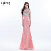 Hot Coral Lange Avondjurk Kralen Hoge Hals Formele Gowns lange Lovertjekleding Echte Foto Vrouwen Gown Elegante Dame Avond jurken