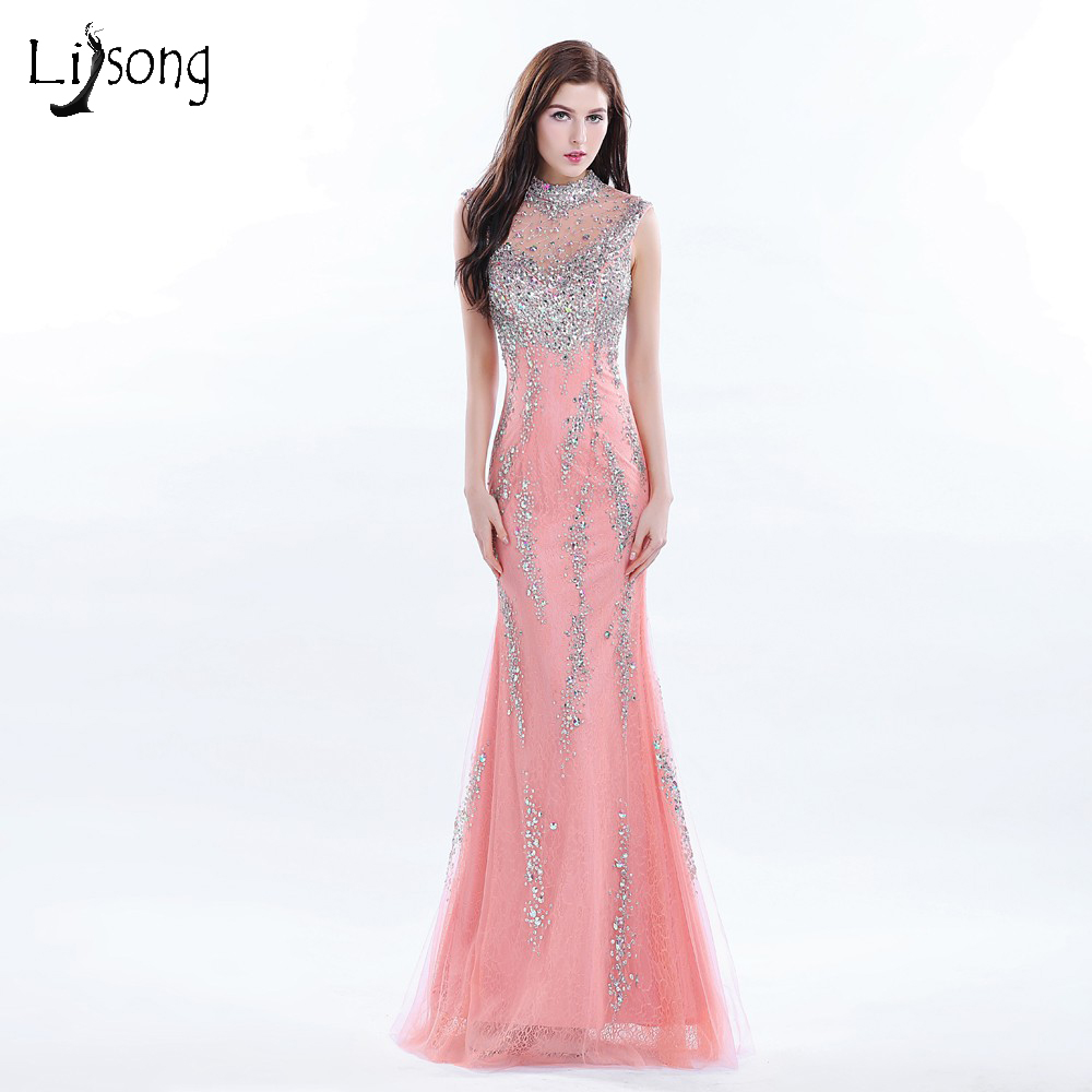 Hot Coral Long Evening Dress Beaded High Neck Formal Gowns Long ...