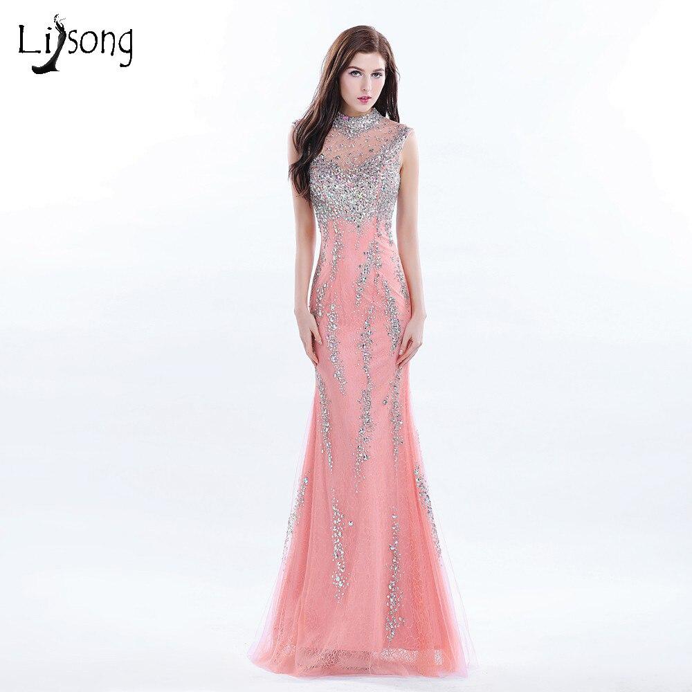 ᗑ】Hot coral vestido de noche largo con cuentas alta Masajeadores ...