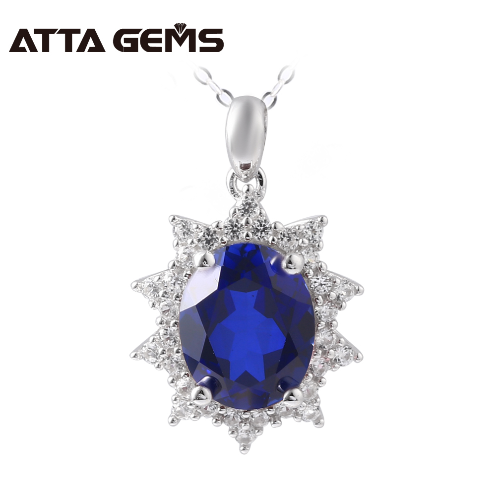 Blue Sapphire Sterling Silver Pendant Women Fine Jewelry 2.85 Carats Created Sapphire Wedding Necklace Birthday Gifts for WifeBlue Sapphire Sterling Silver Pendant Women Fine Jewelry 2.85 Carats Created Sapphire Wedding Necklace Birthday Gifts for Wife