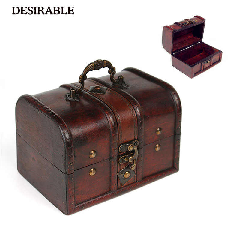 DESIRABLE Chic Case Holder Storage Box Wooden Jewelry Pirate Treasure Chest for Organizer Wooden Jewelry Vintage Free Shipping