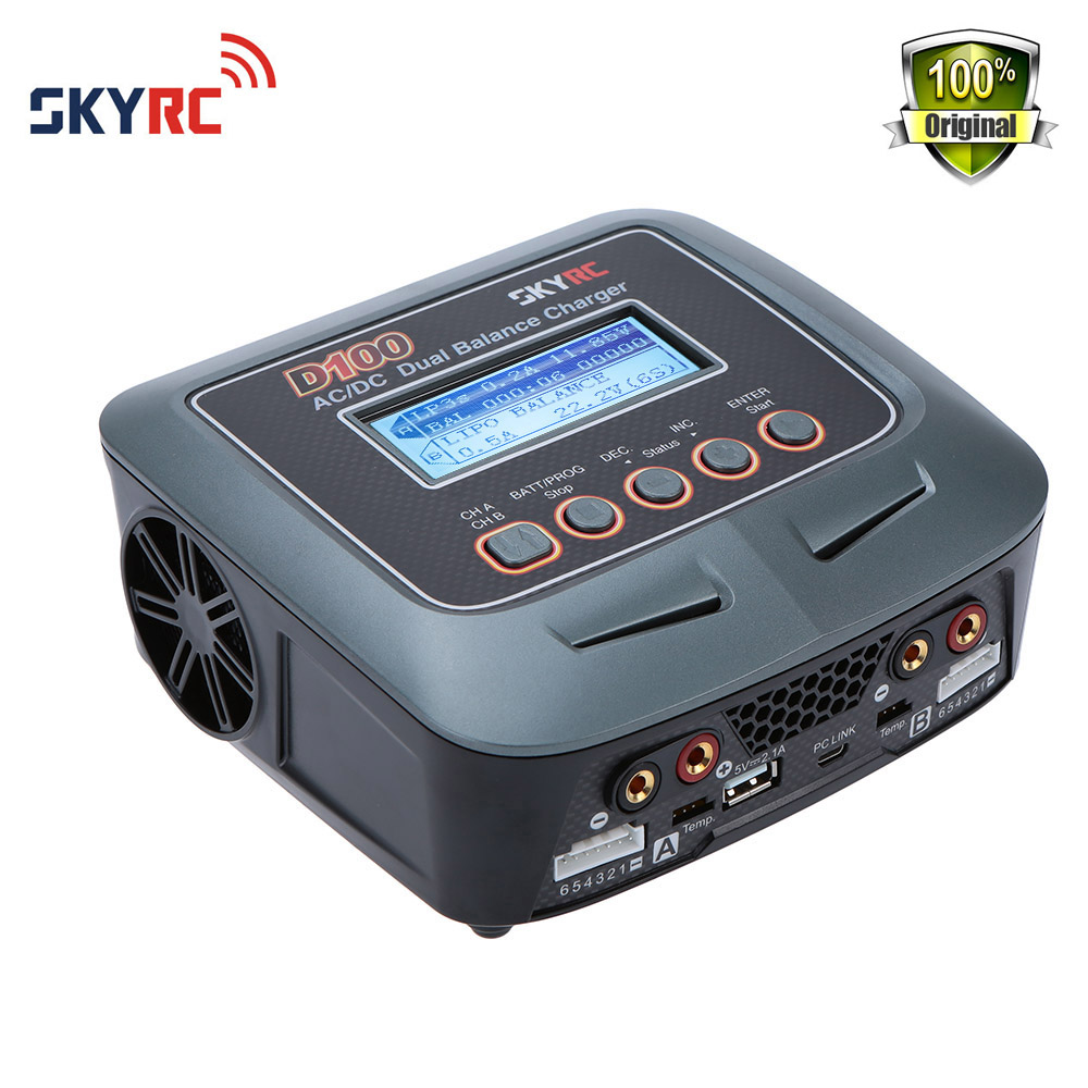 Original Skyrc D100 Charger Twin-Channel AC/DC LiPo 1-6s 2x100W Dual Balance Charger Discharger Lipo LiFe Li-ion NiMh PB Battery skyrc d100 charger twin channel ac dc lipo 1 6s 2x100w dual balance charger discharger lipo life li ion nimh pb battery