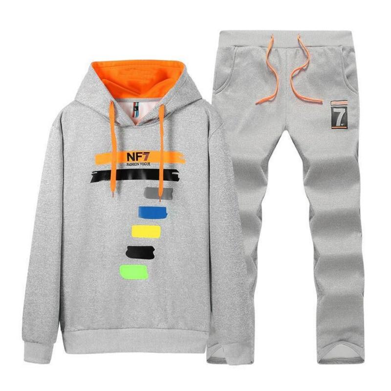 25b604a5a Conjunto de chándal para hombre Otoño Invierno Polar Hood Top + pantalones  sudaderas 2 piezas ...