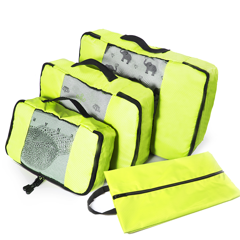 4 Set Packing Cubes Travel Luggage Packing Organizers With Laundry Bag (Grey)(Red)(Green)(Violet) Overnight Bag Duffle Bags