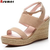 Asumer black apricot fashion summer shoes woman buckle elegant prom wedding shoes platform wedges shoes sandals suede leather