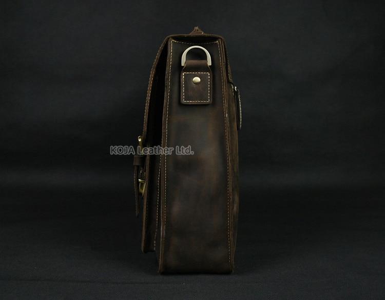 Vintage Crazy Horse Leather Men's Briefcase Laptop Bag Business Bag Genuine Leather Briefcase Men Shoulder Bag Crossbody bag