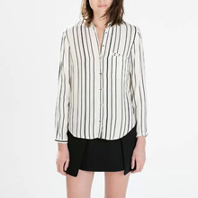 Nice Spring Women Classic Striped Blouse Office OL Shirt Long Sleeve Single Breasted Shirt Casual Slim Blouse CP85
