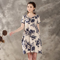 2016 new summer maternity dresses cotton and linen print plus size women's dresses pregnant dresses 16136