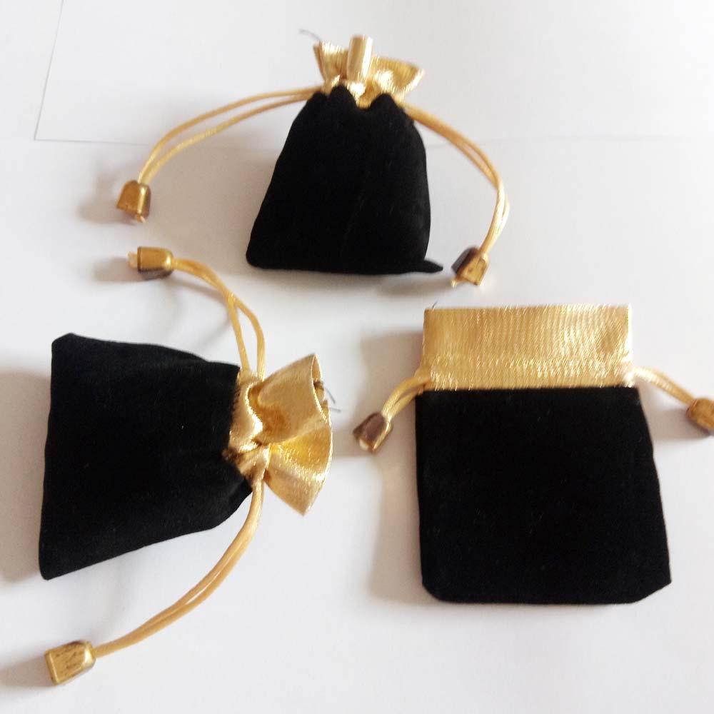 50pcs Phnom Penh Gold Bead Black Velvet Bag Jewellery Pouch Gift Bags Wedding Drawstring Bag Woman Jewelry Display Gift Pack Bag
