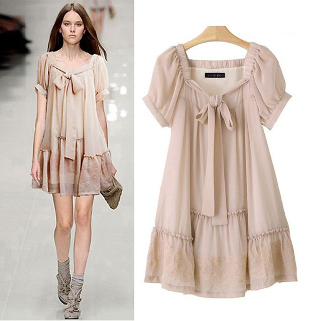 2013 women's fashion plus size embroidery star nude color chiffon one-piece dress