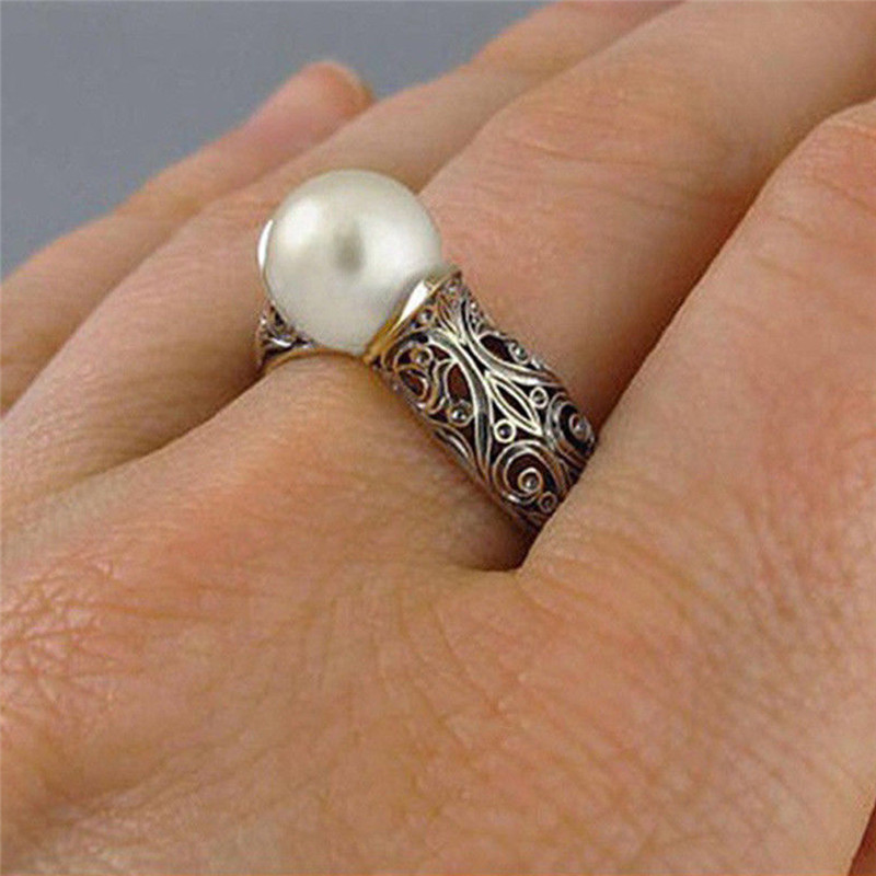 Female Retro Ethnic Big White Pearl Ring Handcrafted Irregular Figure Rose Gold Silver