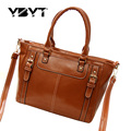 YBYT brand 2017 new vintage casual glossy PU leather handbag hotsale ladies shopping bag simple shoulder messenger crossbody bag
