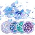4 коробки, искусственные бумажные флаконы для ногтей, Необычные блестящие хлопья, Красочные Блестки для ногтей