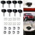 8pcs/set Universal Top Fasteners Thumb Screw Nut Bolt For Jeep/Wrangler YJ TJ JK 1987 - 2017 Metal Black