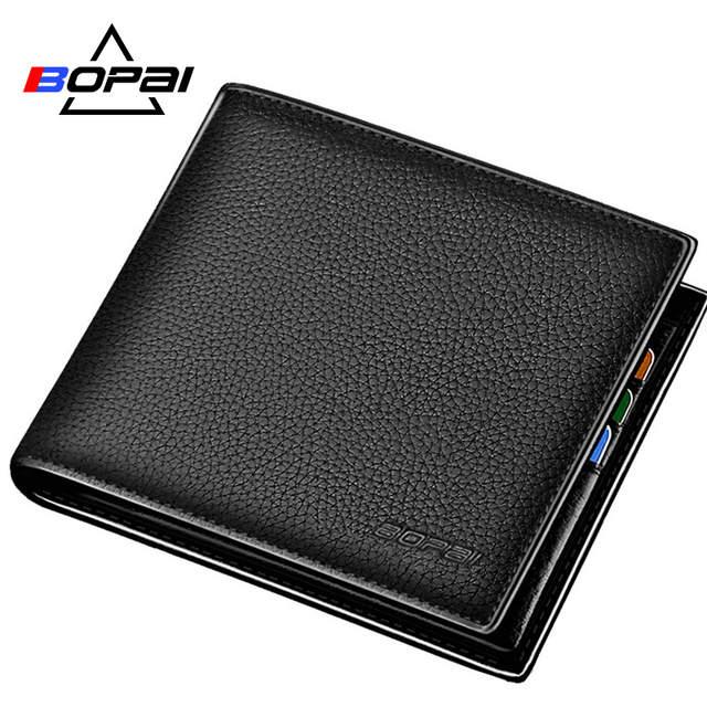 a89e24f3964 placeholder BOPAI Brand 100% Genuine Leather Men Wallet Short Soft Standard Card  Holder Designer Wallet Cowhide