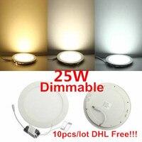 DHL Бесплатная доставка 10 шт. dimmable Панель свет 25 Вт круглый Форма с Адаптеры питания AC110-220V ультра тонкий