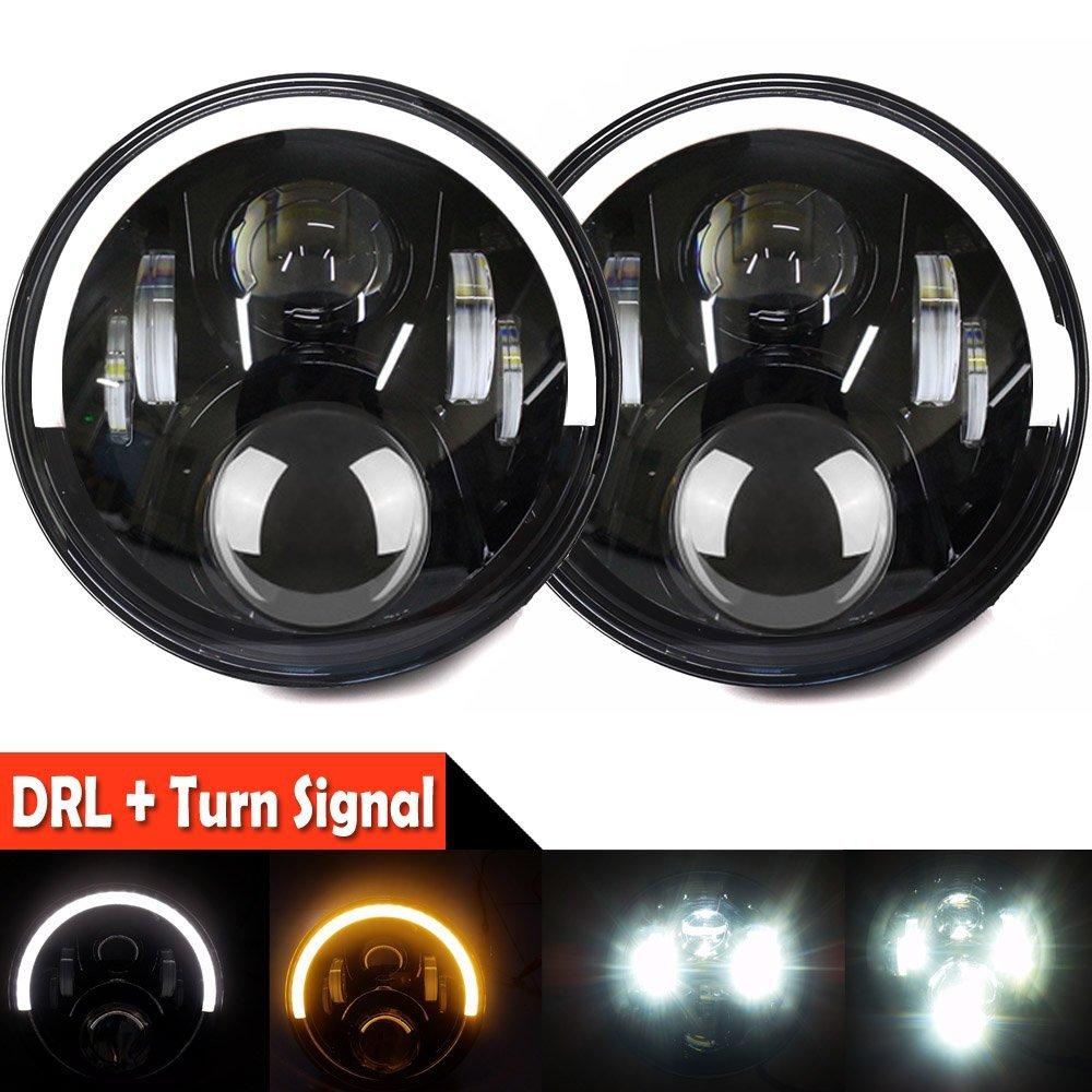2X For Jeep Halo LED Headlights, Half Halos White -Amber Angel Eyes DRL Wrangler Headlights For Jeep Wrangler JK, JK JKU 07-16 for jeep wrangler jk 2