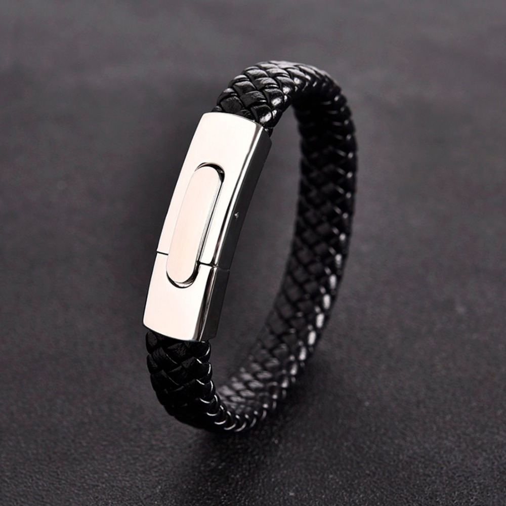 11f6c6e5788c OBSEDE de moda de pulsera de cuero trenzado de Color plata inoxidable  SteelClasp brazaletes para hombres joyería Punk Cierre magnético regalos
