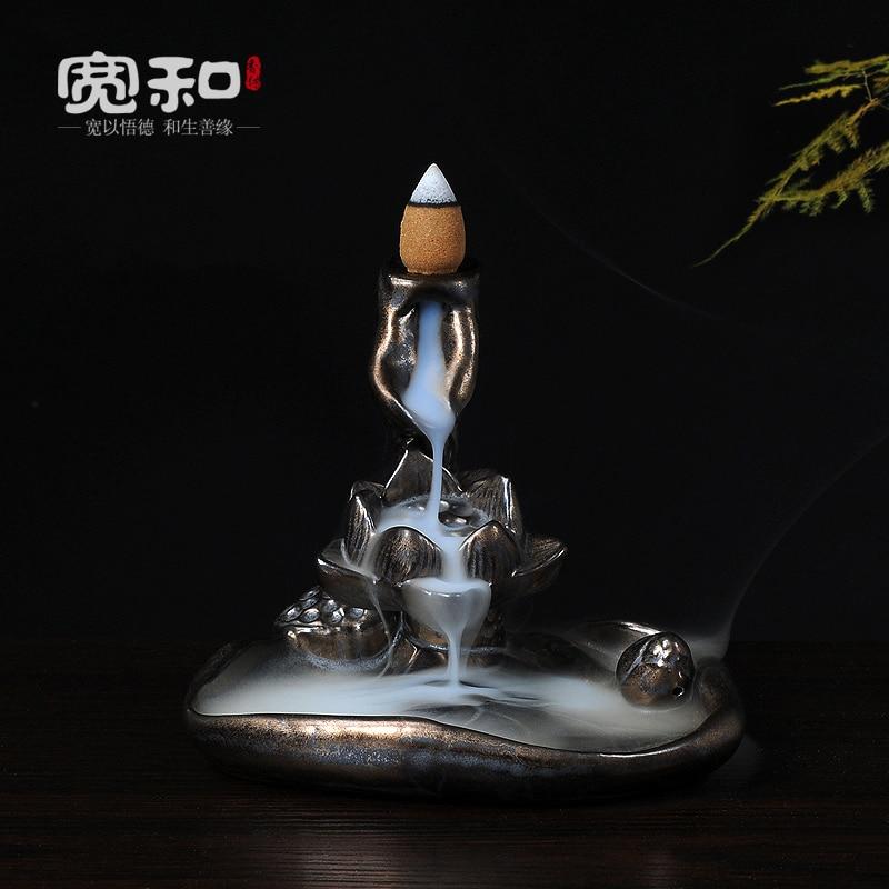 Сандалового дерева курильница потока назад в Dehua благовония печи печь Ржавчина глазурь облако Лотос Будда Творческий курильница