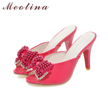 Meotina Women Sandals Party Slides Red Evening Heels Summer Peep Toe Beading Ladies Slippers Crystal Shoes Red White Size 9 10