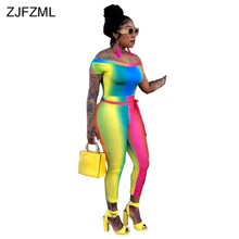 eddf053ecabf ZJFZML Rainbow Gradient Color Sexy One Piece Romper Women Slash Neck Short  Sleeve Fitness Jumpsuit Novelty