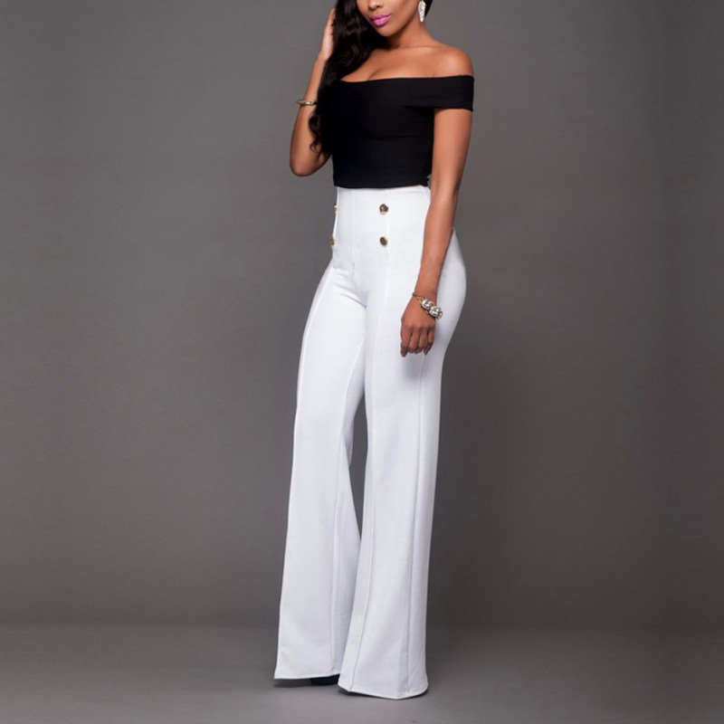 2019 Spring Slim Professional Women Western-style Trousers White Black Pants Mid Waist Plus Size Formal Female Stright Pants