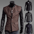 Free shipping !!!! 2015 Men's Fashion Clothing Slim suit jacket PU splicing coat , Casual jackets / M-XXL