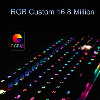 GK104 Mechanical Gaming Wired Keyboard RGB Custom 16.8 Million Color 87/104 Anti-ghosting Russian/English Backlight Desktop 6