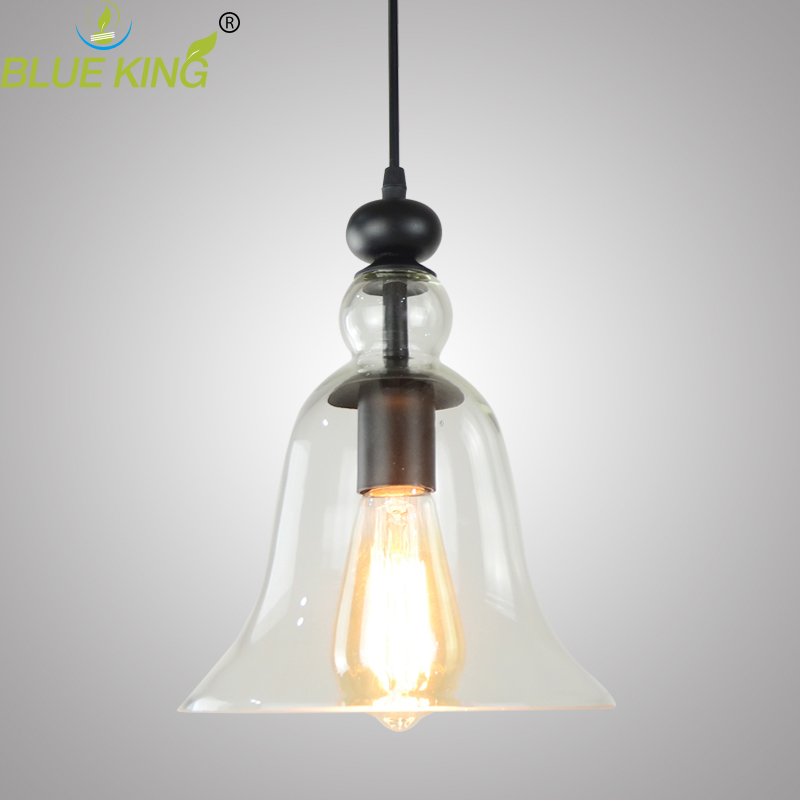 Modern Hanging Bell Shape Clear Glass Pendant Light Decor