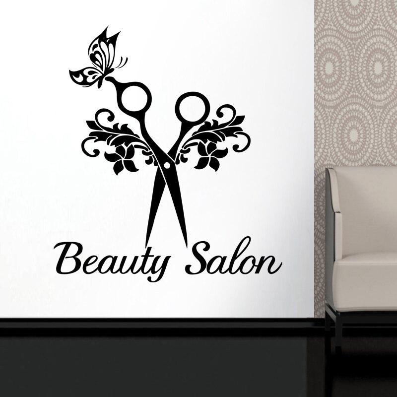 Butterfly Scissors Hair Beauty Salon Sticker Decal Neutral