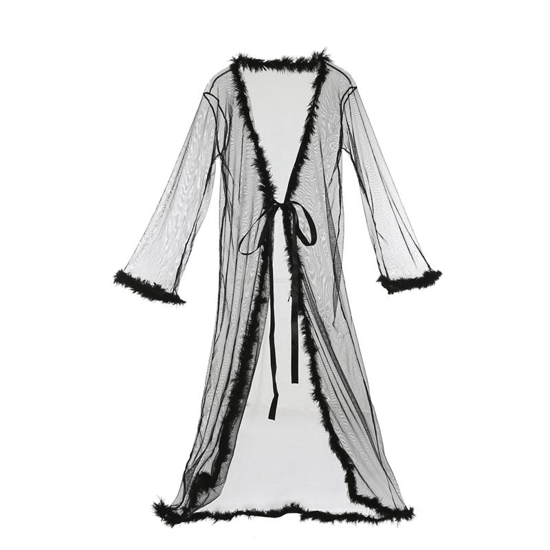 Women\'S Lingerie Dress Long Bath Robe Gown Babydoll Sexy Mesh Sheer Pajamas Nightwear Summer Sleepwear Christmas Robes