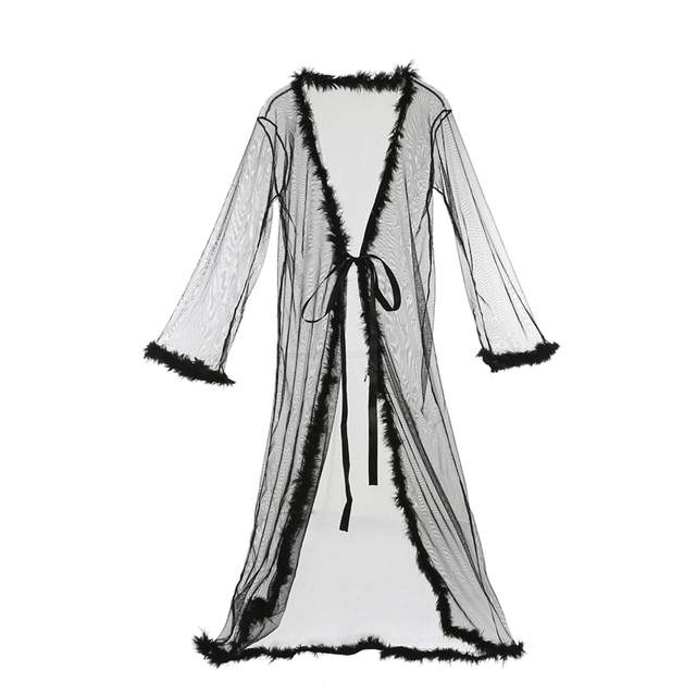 aeb0ce1990 Womens Lingerie Dress Long Bath Robe Gown Babydoll Sexy Mesh Sheer Pajamas  Fashion Nightwear Summer Sleepwear Christmas Robes