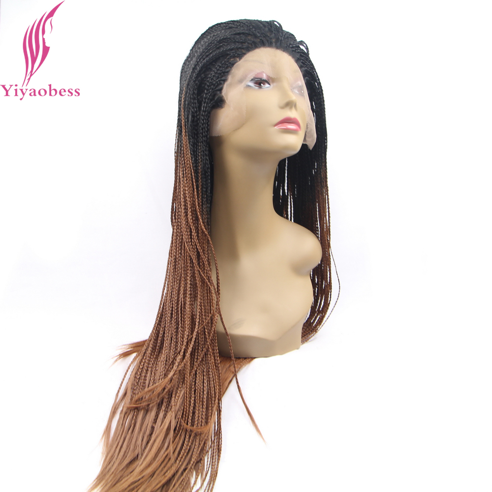 Yiyaobess Svart Brun Blond Ombre Spets Fram Wig Syntetisk Hår Braids - Syntetiskt hår