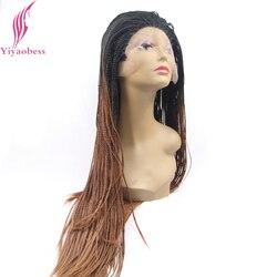 Yiyaobess Schwarz Braun Ombre Flechten Spitze Vorne Perücke Synthetische Haar African American Lange Micro Geflochtene Perücken Für Frauen