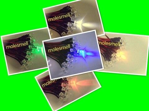 Pces 24v Piscando Vermelho Amarelo Azul Verde Branco Flash Led Lâmpada Luz Pré-wired dc Wired 1000 5mm 5v 12v