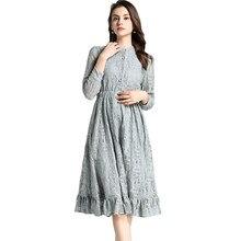 f3bb451204 2018 Vintage vestido de Otoño de invierno para mujeres Sexy Hollow Out Lace vestido  vestidos de