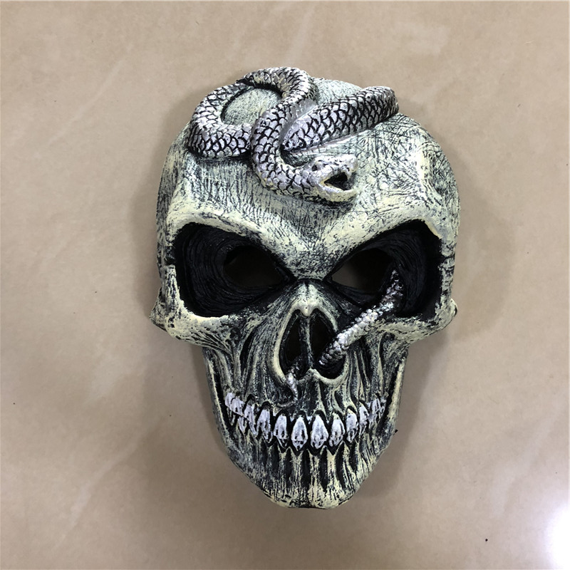Big 1:1 Cosplay Mask Prop Scary Skeleton Snake Mask Silver Movie Game Anime Role Play Halloween Link Cos Kids Gift Safety PU