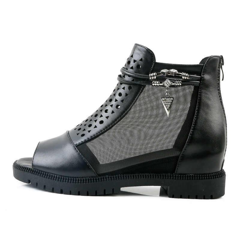 BONJOMARISA 2020 moda iç topuklu hava Mesh ayakkabı yaz bayan kadın ayakkabısı eğlence Peep Toe yaz çizmeler kadın