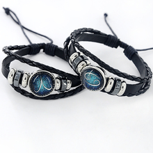 Black Leather Zodiac 12 Constellation Zodiac Sign with beads zodiac Bracelet leather bracelet SL-459