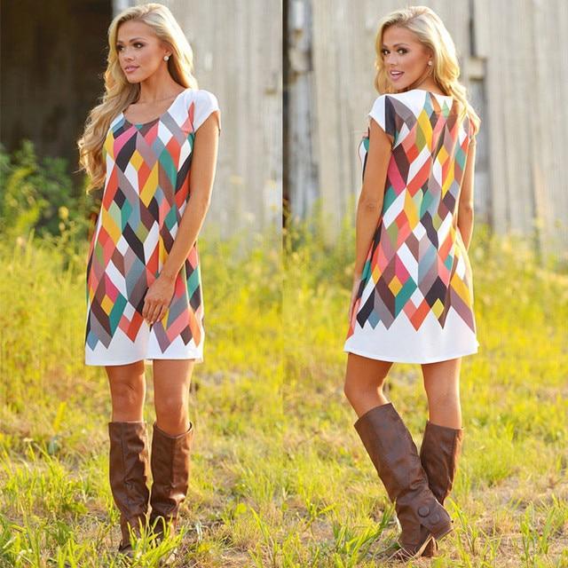 6e022d8be10f Bright Summer Women Pretty Dress Short Sleeve Cube Pattern Printing Women  Casual Mini Dress Loose Sundress