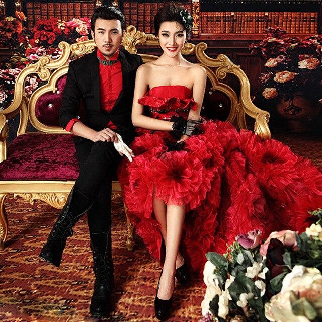 New Korean Wedding Photography Studio Theme Clothing Retro Couple Photo Bra Trailing Court Dress N014