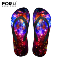 fashion summer style flip flops for women ladies flats beach slippers universe space printing female flatform sandals size 35-40