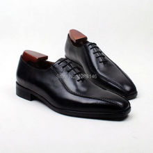 Free Shipping  Handmade Genuine Calf Leather Outsole Oxford Black Men's Clssic/Dress Square Toe Mackay Craft Shoe No.ox618