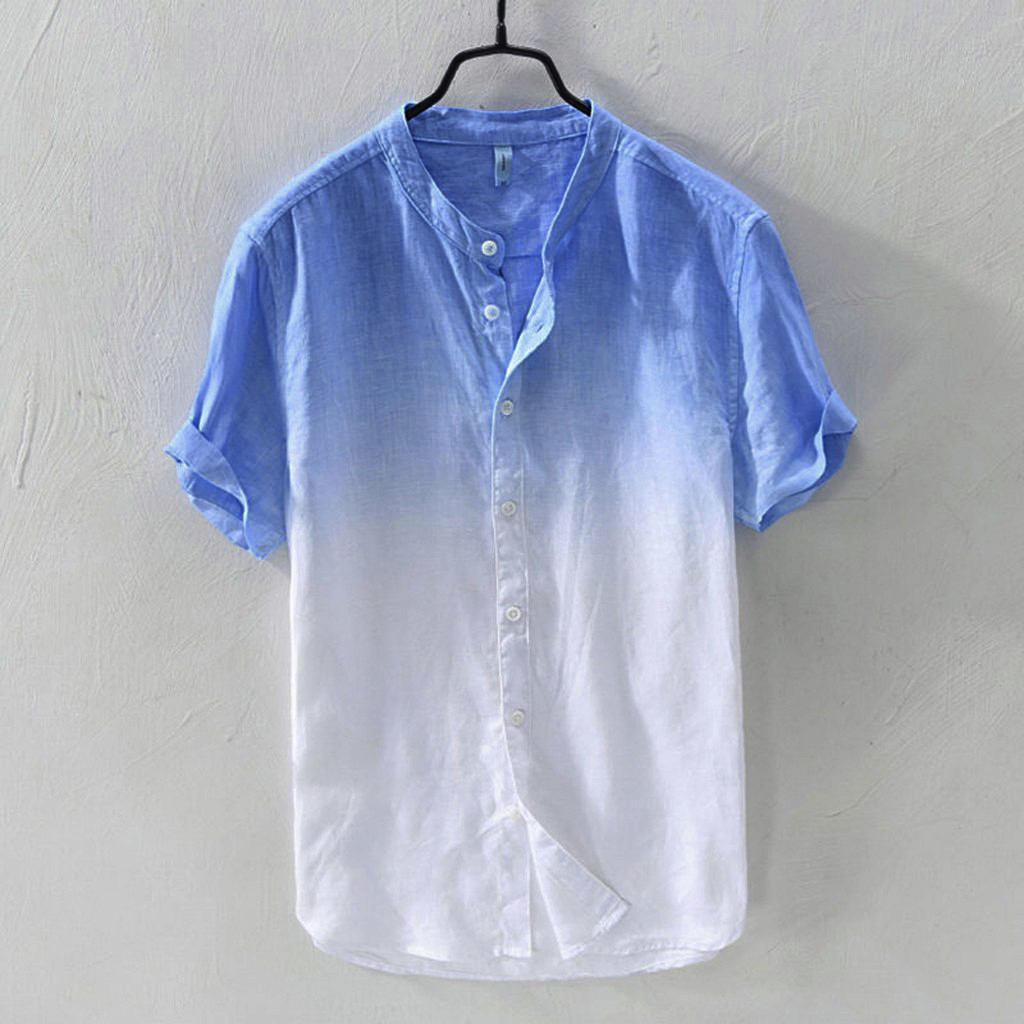 Summer Men's Shirts Casual Short Sleeve Shirt Breathable Collar Hanging Dyed Gradient Cotton Blouse Tops Camisa Masculina