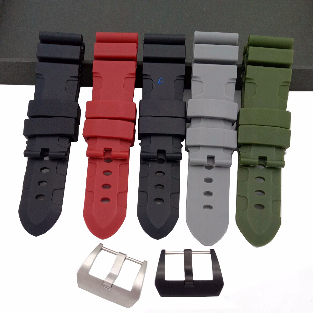 c2ac96f317d Black Red Grey Green Black Silicone Watch Strap Rubber Watchband For ...
