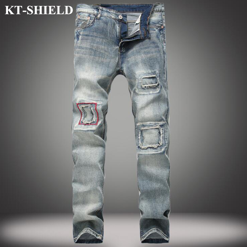 Mens Blue Ripped Jeans Pants Designer Distressed Denim Skinny Man Destroyed Jean Trousers Vaqueros Hombre Fashion