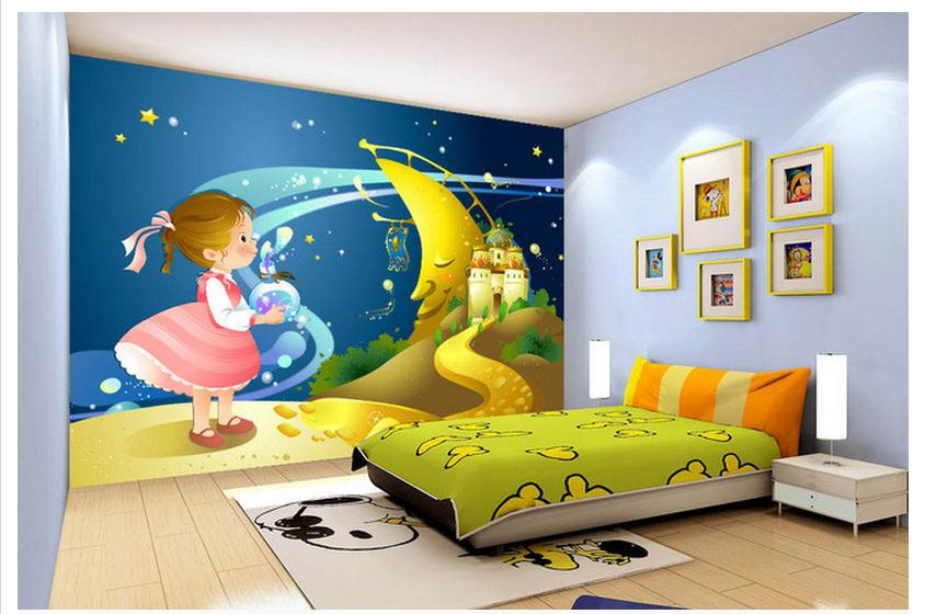 Custom mural 3D non-woven wallpaper Cartoon young girl children room wall paper background wall the moon Children's paintings 3d wallpaper custom mural non woven cartoon animals at 3 d mural children room wall stickers photo 3d wall mural wall paper