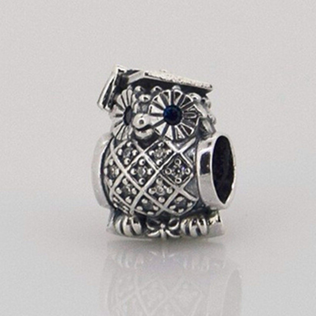 Owl silver charm with blue crystal and cubic zirconia 925 Sterling Silver Charm Beads Fits For Pandora Bracelets European FL174.