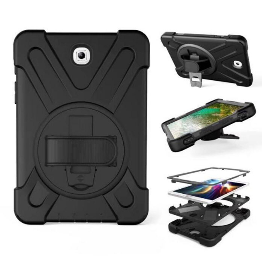 Case For Samsung Galaxy Tab S2 8.0 SM-T710 T715 T719 Kids Safe Shockproof Heavy Duty Silicone Hard Cover kickstand Hand bracel pannovo silicone shockproof fallproof dustproof case cover for samsung galaxy note 2 n7100 black