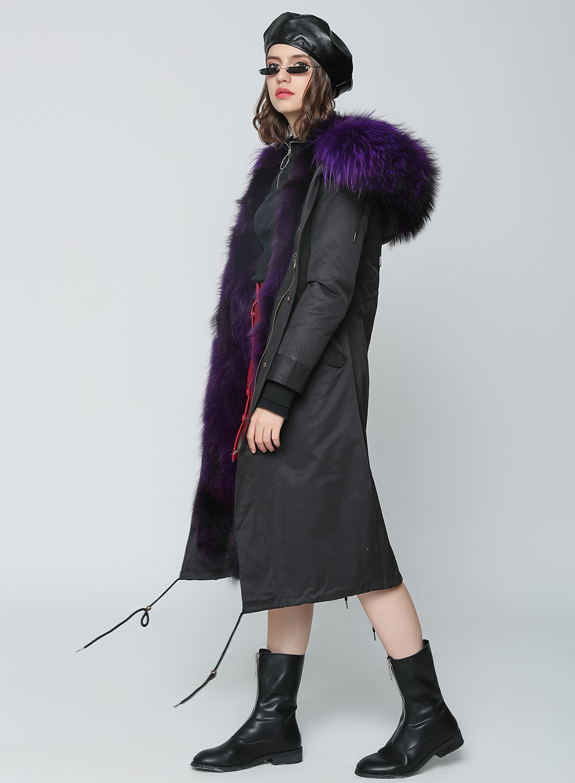 2019 Real Fur Coat Winter Jacket Women Long Parka Waterproof Big Natural Raccoon Fur Collar Hood Thick Warm Real Fox Fur Liner 65